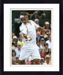 "Framed Roger Federer Autographed 8"" x 10"" White Shirt Swinging Photograph"