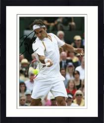 "Framed Roger Federer Autographed 8"" x 10"" White Shirt Swinging Photograph"
