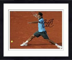 "Framed Roger Federer Autographed 8"" x 10"" Light Blue Split On Clay Photograph"
