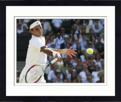 "Framed Roger Federer Autographed 8"" x 10"" Horizontal White Swing Photograph"