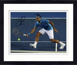 "Framed Roger Federer Autographed 8"" x 10"" Nike Blue Shirt Headband Photograph"