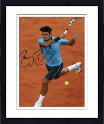 "Framed Roger Federer Autographed 8"" x 10"" Light Blue Red Nike On Clay Photograph"