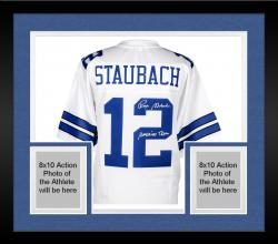 """Framed Roger Staubach Dallas Cowboys Autographed Proline Jersey with """"America's Team"""" Inscription"""