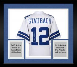 Framed Roger Staubach Dallas Cowboys Autographed Proline White Jersey