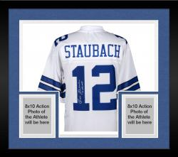 Framed Roger Staubach Dallas Cowboys Autographed Proline White Jersey with 1971 NFL MVP Inscription