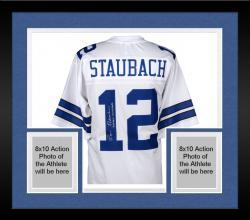 Framed Roger Staubach Dallas Cowboys Autographed Proline White Jersey with Captain Comeback Inscription