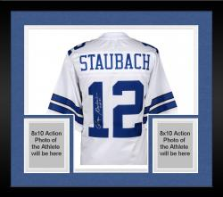 Framed Roger Staubach Dallas Cowboys Autographed Proline White Jersey with HOF 85 Inscription