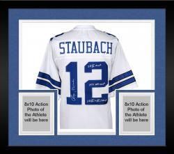 Framed Roger Staubach Dallas Cowboys Autographed Proline White Jersey with Multiple Inscriptions