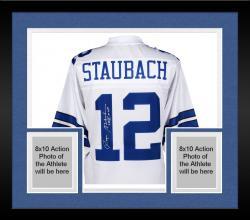 Framed Roger Staubach Dallas Cowboys Autographed Proline White Jersey with SB VI MVP Inscription