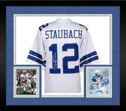 Framed Roger Staubach Dallas Cowboys Autographed Proline White Jersey with VI and XII SB Champs Inscription
