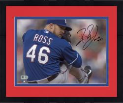 "Framed Robbie Ross Texas Rangers Autographed 8"" x 10"" Pitching Blue Jersey Photograph"