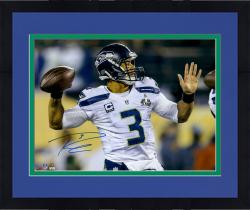 "Framed Russell Wilson Seattle Seahawks Super Bowl XLVIII Champions 16"" x 20"" Autographed Throwing Photo"