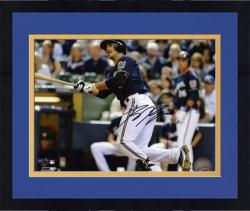"Framed Ryan Braun Milwaukee Brewers Autographed 8"" x 10"" Looking at Ball Photograph"