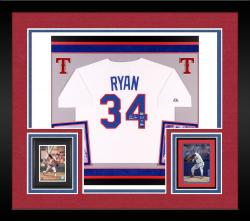 "Nolan Ryan Autographed Rangers Authentic Jersey with ""HOF"" Inscription - Deluxe Framed"