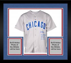 Framed Ryne Sandberg Chicago Cubs Autographed Gray Replica Jersey with Multiple Inscription