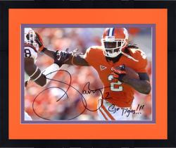 Framed Sammy Watkins Clemson Tigers Autographed 8'' x 10'' Stiff Arm Photograph with Go Tigers Inscription