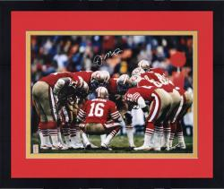 Framed San Francisco 49ers Joe Montana Autographed 16'' x 20'' Huddle Photo