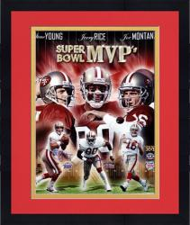 "Framed San Francisco 49ers Joe Montana, Jerry Rice & Steve Young Super Bowl MVPs Collage Autographed 16"" x 20"" Photo"