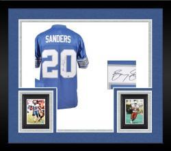 Framed Sanders, Barry Auto (lions) (blue/swingman) Jersey
