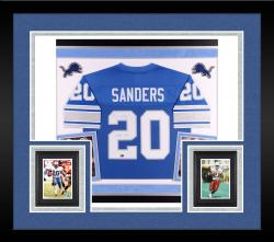 Barry Sanders Autographed Lions Pro Jersey with Multiple Inscriptions - Deluxe Framed