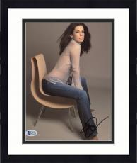 "Framed Sandra Bullock Autographed 8"" x 10"" Sitting with See Through Shirt Photograph - Beckett COA"