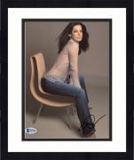 "Framed Sandra Bullock Autographed 8"" x 10"" Sitting with See Through Shirt Photograph - Beckett COA"