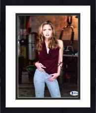 """Framed Sarah Michelle Gellar Autographed 8"""" x 10"""" Posing Wearing Burgundy Shirt & Jeans Photograph - Beckett COA"""
