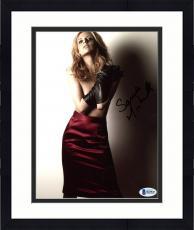 "Framed Sarah Michelle Gellar Autographed 8"" x 10"" Posing Wearing No Shirt Red Skirt  & Hands Crossed Photograph - Beckett COA"