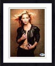 """Framed Sarah Michelle Gellar Autographed 8"""" x 10"""" Posing Wearing Open Jacket Photograph - Beckett COA"""