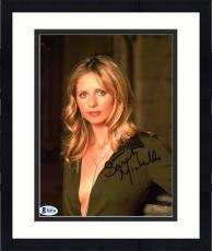 """Framed Sarah Michelle Gellar Autographed 8"""" x 10"""" Up Close Wearing Green Shirt Photograph - Beckett COA"""