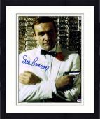 "Framed Sean Connery Autographed 11""x 14"" Goldfinger James Bond Silver Gun & White Tux  Photograph - PSA/DNA LOA"