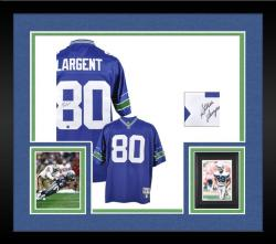 Framed Seattle Seahawks Steve Largent Hall of Fame Autographed Jersey