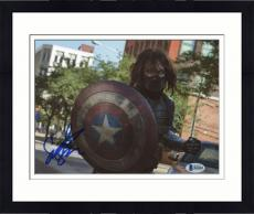 "Framed Sebastian Stan Autographed 8"" x 10"" Holding Captain America's Shield Photograph - Beckett COA"