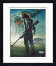 "Framed Sebastian Stan Autographed 8"" x 10"" Holding Weapon with Background Photograph - Beckett COA"