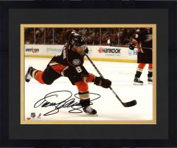 "Framed Teemu Selanne Anaheim Ducks Autographed 8"" x 10"" Shooting Black Photograph"