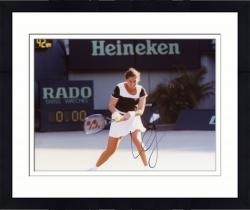 Framed Monica Seles Autographed 8'' x 10'' Swinging Racquet Photograph
