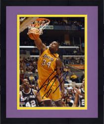 """Framed Shaquille O'Neal Los Angeles Lakers vs San Antonio Spurs Dunking Autographed 8"""" x 10"""" Photograph"""