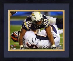 "Framed Shaun Phillips San Diego Chargers Autographed 8"" x 10"" Sacking Jay Cutler Photograph"