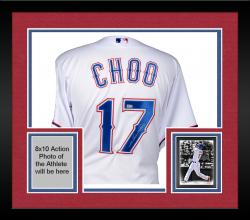 Framed Shin-Soo Choo Texas Rangers Autographed Majestic White Authentic Jersey