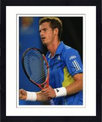 "Framed Andy Murray Autographed 8"" x 10"" Blue Yellow Adidas Shirt Photograph"