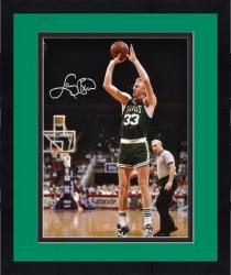 "Framed Larry Bird Boston Celtics Autographed 16"" x 20"" Shooting Photograph"