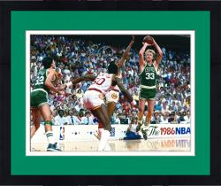 "Framed Larry Bird Boston Celtics Autographed 16"" x 20"" 1986 NBA Finals Photograph"