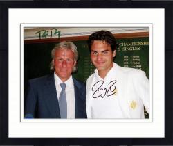 "Framed Roger Federer & Bjorn Borg Dual Autographed 8"" x 10"" Wimbledon Photograph"