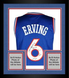 Framed Signed Julius Erving Limited Edition Jersey - Multiple Inscriptions