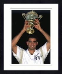Framed Pete Sampras Autographed 8'' x 10'' Holding Trophy Over Head Photograph
