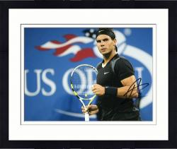 "Framed Rafael Nadal Autographed 8"" x 10"" US Open Black Gray Fist Photograph"