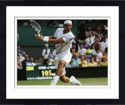 "Framed Rafael Nadal Autographed 8"" x 10"" White Shorts Shirt IBM Photograph"