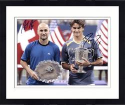 "Framed Andre Agassi & Roger Federer Dual Autographed 8"" x 10"" Trophy Photograph"