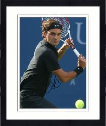"Framed Roger Federer Autographed 8"" x 10"" Back Swing Black Shirt Photograph"
