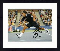 "Framed Roger Federer Autographed 8"" x 10"" Black Shirt Shorts Photograph"